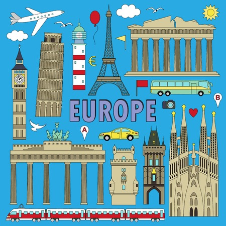 european countries: European landmarks and transports. Vector illustration with colour travel elements. Landmarks of european countries  France, Germany, GB, Italy, Spain, Greece, Portugal,  Czech