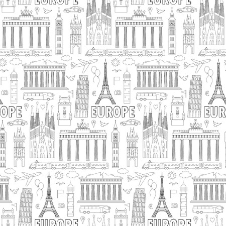 european countries: European landmarks and transports seamless pattern. Vector illustration with travel elements. Landmarks of european countries  France, Germany, GB, Italy, Spain, Greece, Portugal,  Czech