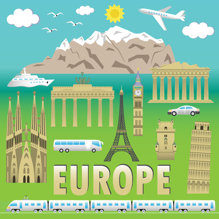 european alps: European landmarks and transports. Vector illustration with travel elements. Landmarks of european countries  France, Germany, GB, Italy, Spain, Greece, Portugal