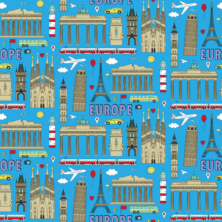gb: European landmarks and transports seamless pattern. Vector illustration with travel elements. Landmarks of european countries  France, Germany, GB, Italy, Spain, Greece, Portugal,  Czech
