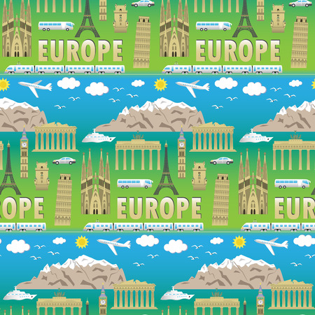 european countries: European landmarks and transports seamless pattern. Vector illustration with travel elements. Landmarks of european countries  France, Germany, GB, Italy, Spain, Greece, Portugal,