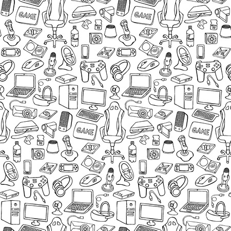 computer clipart: Hand drawn gamer seamless pattern with doodle elements on white background. Gamer gadgets wallpaper