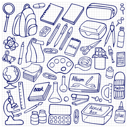 Hand drawn doodle school elements on squared background Stock Vector - 58748732