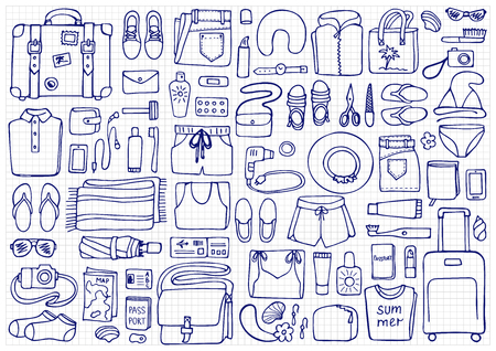 hand lay: Hand drawn Man and Woman travel elements on squared background. Flat lay of doodle man and woman clothes and objects Illustration