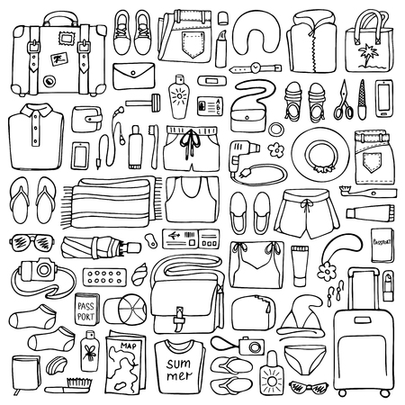 hand lay: Hand drawn Man and Woman travel elements on white background. Flat lay of doodle man and woman clothes and objects Illustration