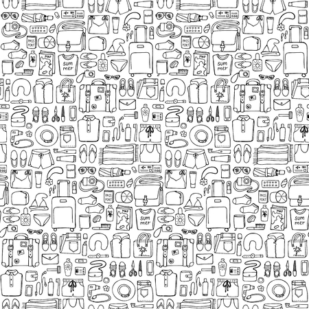 hand lay: Hand drawn Man travel seamless pattern on white background. Flat lay. Seamless pattern of doodle man and woman clothes and objects Illustration