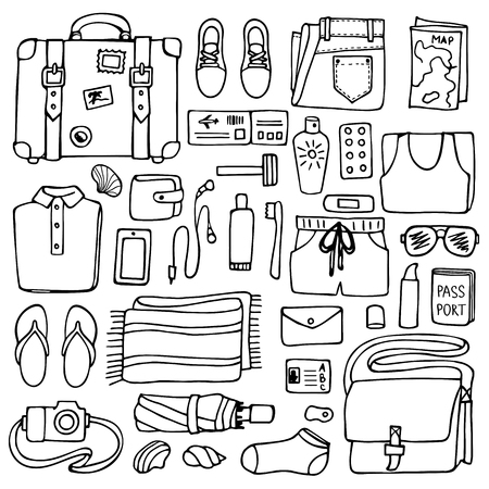 Hand drawn Man travel elements on white background. Flat lay of doodle man clothes and objects