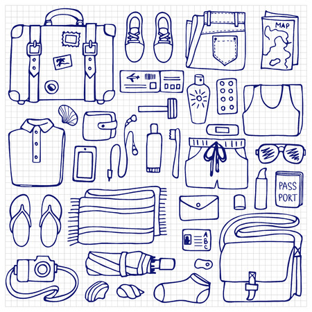 hand lay: Hand drawn Man travel elements on squared background. Flat lay of doodle man clothes and objects Illustration