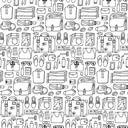 hand lay: Hand drawn Man travel seamless pattern on white background. Flat lay. Seamless pattern of doodle man clothes and objects