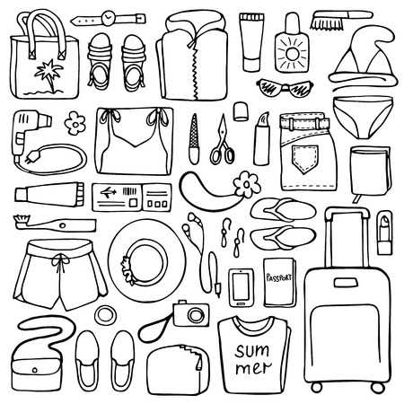hand lay: Hand drawn Woman travel elements on white background. Flat lay of doodle woman clothes and objects