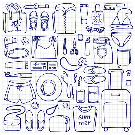 lay: Hand drawn Woman travel elements on squared background. Flat lay of doodle woman clothes and objects