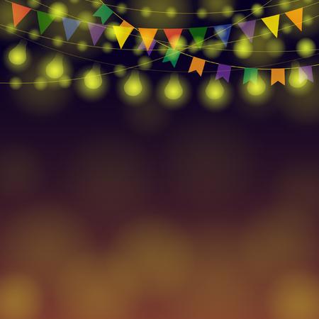 밤 축제 배경입니다. 컬러 축제 Garlands. 인사말 및 엽서에 대 한 그림입니다. 수평 휴가 테두리