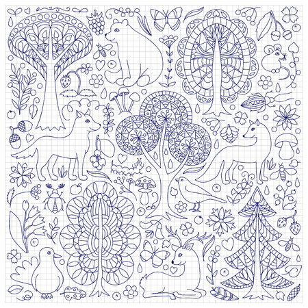 squared paper: Pattern of doodle forest animals and plants. illustration of childish woodland on squared paper