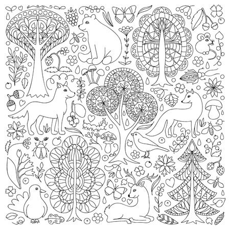 happyness: Pattern of doodle forest animals and plants. illustration of childish woodland