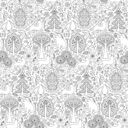 bear berry: Seamless pattern of doodle forest animals and plants.  illustration of childish woodland Illustration