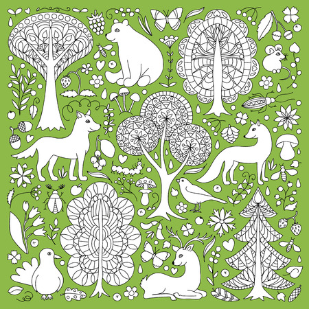 bear berry: Pattern of doodle forest animals and plants.  illustration of childish woodland