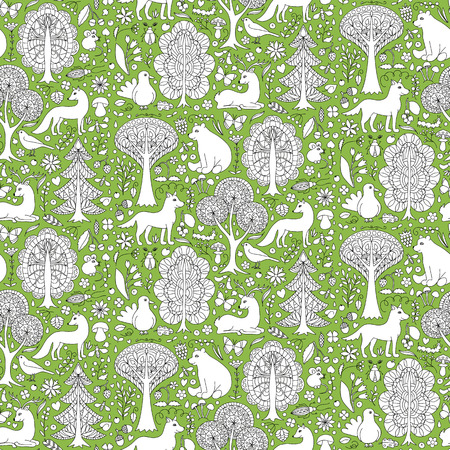 bear berry: Seamless pattern of doodle forest animals and plants. illustration of childish woodland