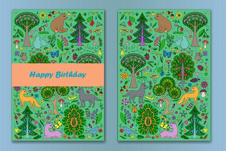 Las tarjetas de felicitación de los animales y plantas del bosque del doodle de colores. tarjetas de Feliz Cumpleaños. la ilustración de la cubierta con bosques infantil. colección de carteles