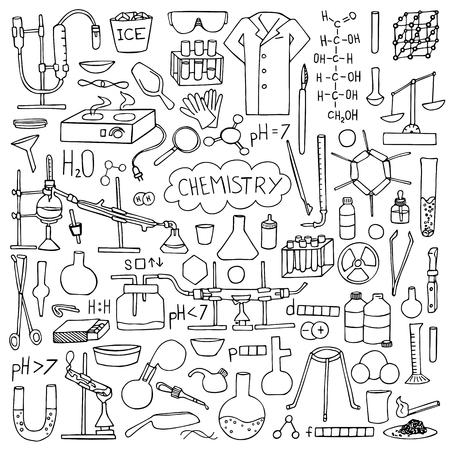 reagents: Chemistry doodle hand drawn set. Science elements and objects