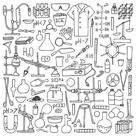 reagents: Chemistry doodle set. Science elements and objects