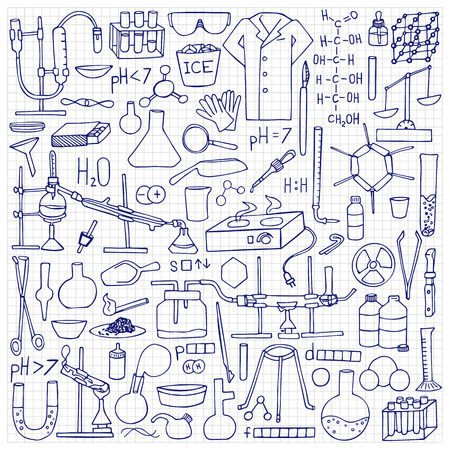 bureta: Chemistry doodle set. Science elements and objects on squared paper Vectores