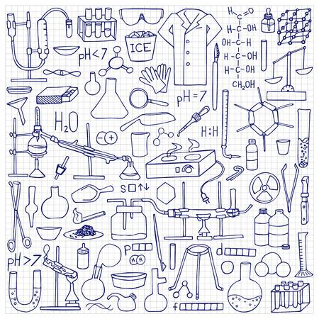 bureta: El Doodle fijó la química. elementos de ciencia y objetos en papel cuadriculado Vectores