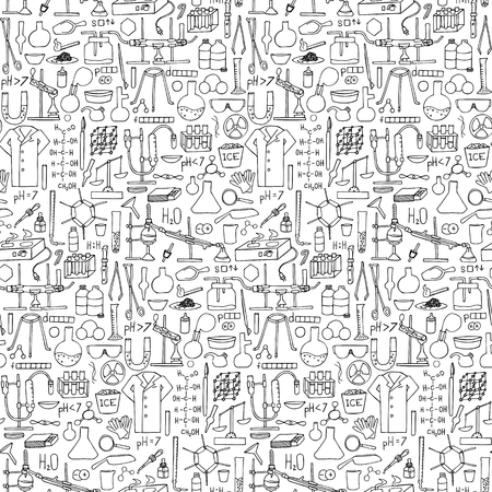 bureta: Chemistry doodle seamless pattern. Science elements and objects Vectores
