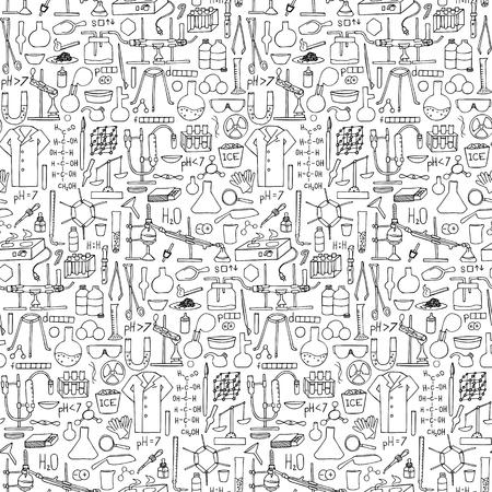 bureta: doodle de la química patrón transparente. elementos científicas y los objetivos Vectores