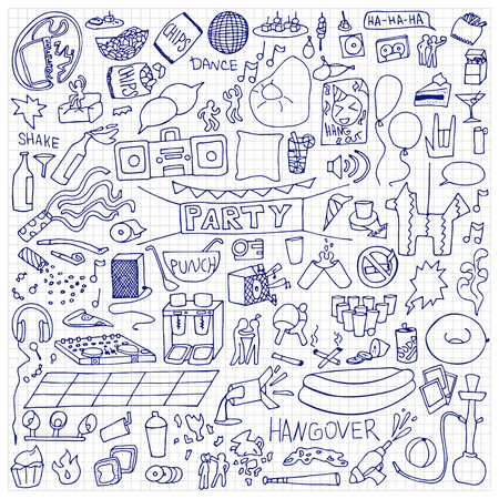hangout: Adult Party Set. illustration of doodle holiday elements on squared paper