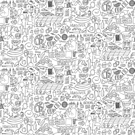 hangout: Adult Party  Seamless Pattern. illustration of doodle holiday wallpaper Illustration