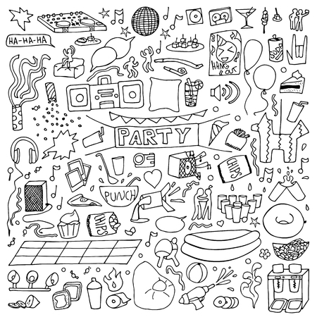 hangout: Adult Party Set. illustration of doodle holiday elements