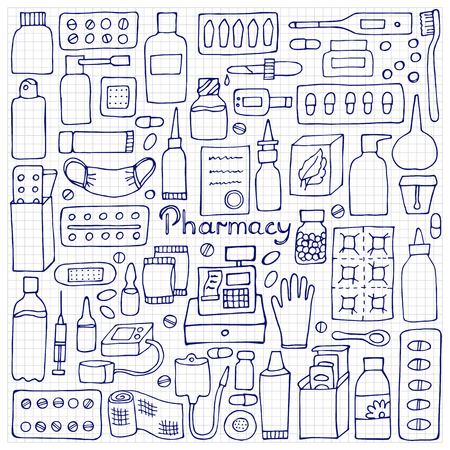 squared paper: Pharmacy  elements. Medicament doodle set on squared paper