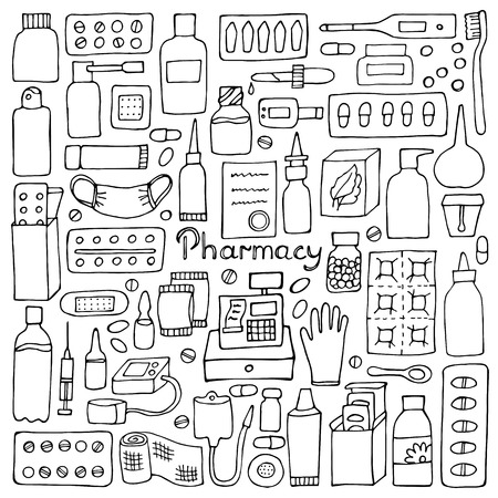 medicament: Pharmacy  elements. Medicament doodle set Illustration