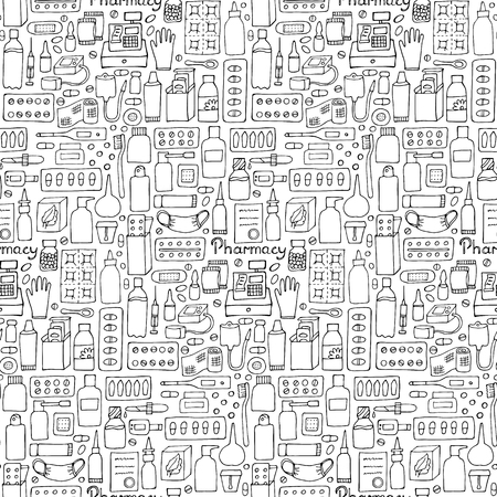 medicament: Pharmacy seamless pattern. Medicament doodle set wallpaper Illustration