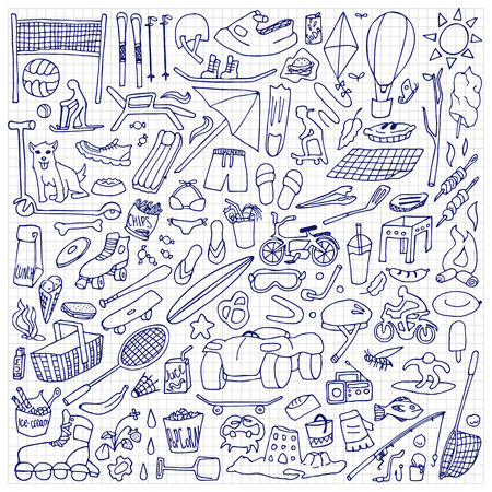 winter grilling: Hand drawn rest objects. Sport and holiday elements on squared paper