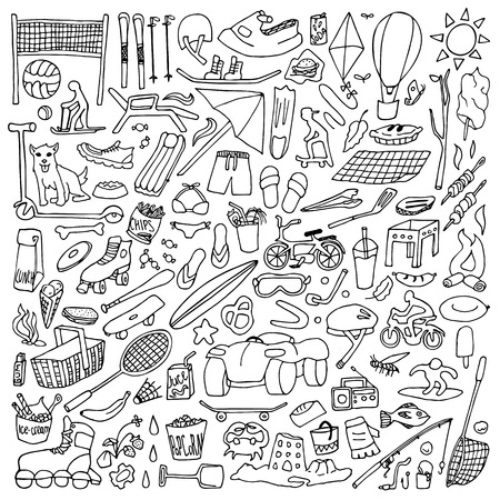 winter grilling: Hand drawn rest objects. Sport and holiday elements