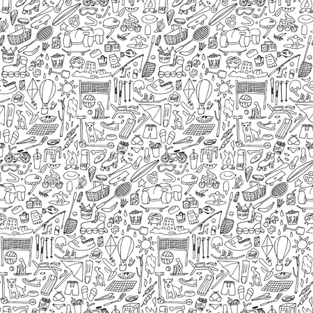 winter grilling: Hand drawn rest seamless pattern. Sport and holiday doodle elements wallpaper