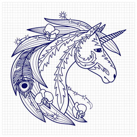 fictional: Unicorn with decorative elements. Fairy tale character. Fictional animal on squared paper