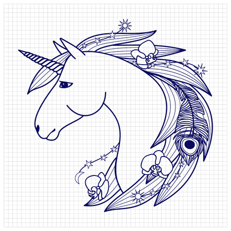 squared paper: Unicorn with decorative elements. Fairy tale character. Fictional animal on squared paper