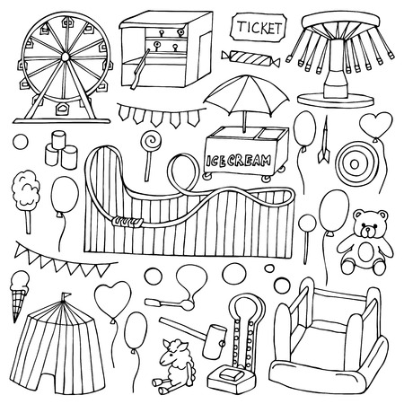 Attraction hand drawn doodle elements and objects
