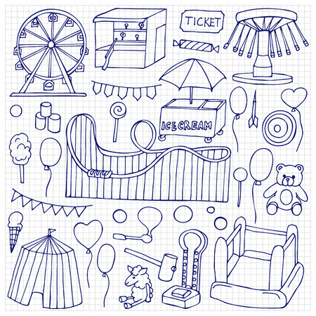 attraction: Attraction hand drawn doodle elements and objects on squared paper Illustration