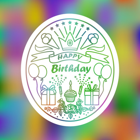Happy Birthday Greeting Card. Vector illustration with birthday elements