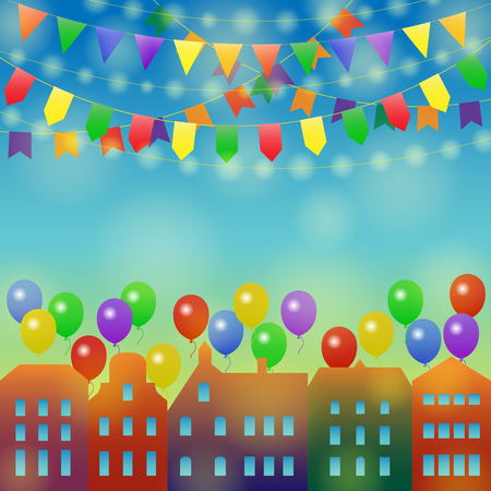 Festive city background. Different Colors Garlands and Balloons on a town. Vector illustration for greeting and post cards