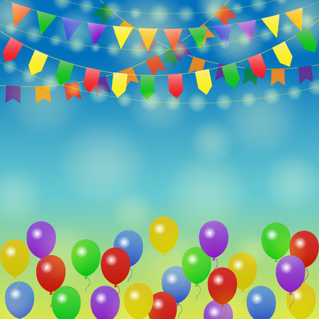 fun day: Festive background. Different Colors Garlands and Balloons in blue sky. Vector illustration for greeting and post cards