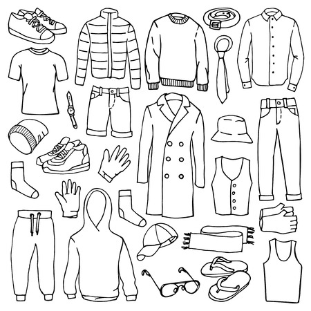 Vector illustration of hand drawn man clothes and accessories elements Stock Illustratie