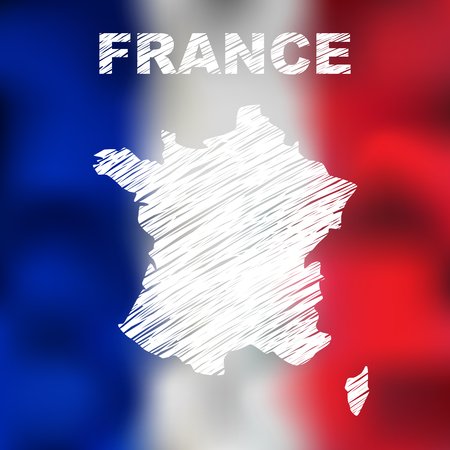 corsica: Abstract french map on flag background. Vector illustration of abstract french map and flag