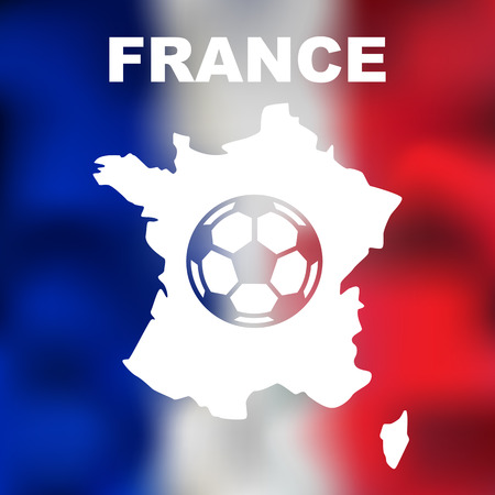 corsica: Abstract french map with football on flag background. Vector illustration of abstract french map and flag Illustration