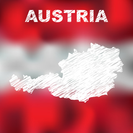 austrian: Abstract austrian map on flag background. Vector illustration of abstract austrian map and flag Illustration