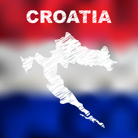 physical geography: Abstract croatian map on flag background. Vector illustration of abstract croatian map and flag. Map of Croatia Illustration