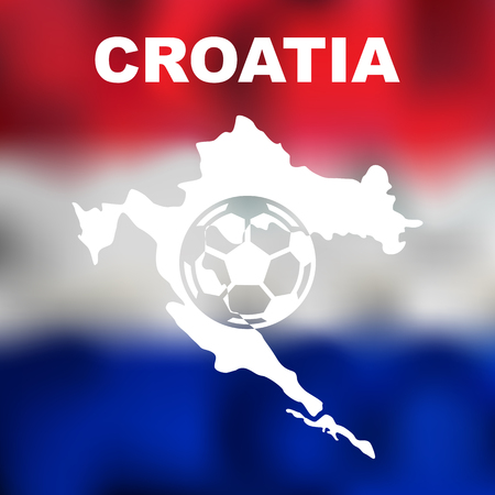 bandera croacia: Abstract croatian map with football on flag background. Vector illustration of abstract croatian map and flag